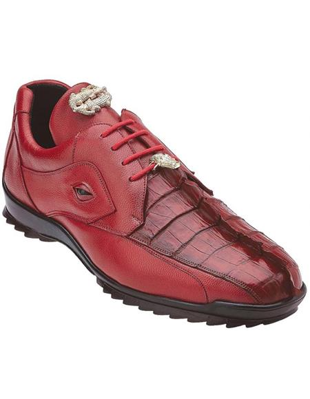 Mens Sneaker Red Crocodile and Soft Calfskin