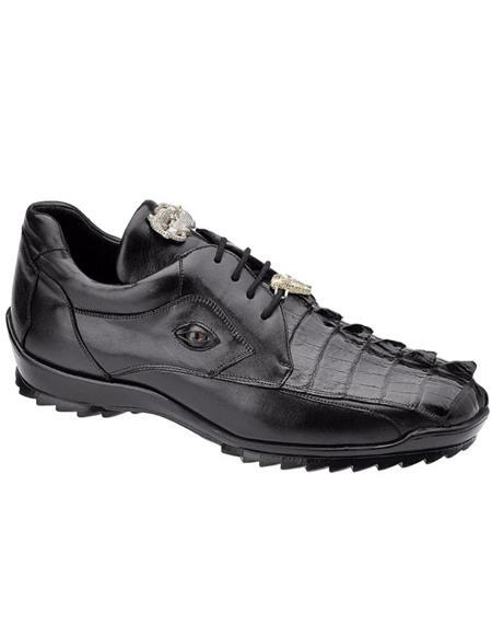 Mens Sneaker Black Crocodile and Soft Calfskin