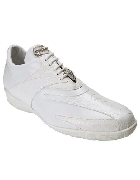 Mens Sneaker Bene White Geniune Ostrich and Soft Calfskin