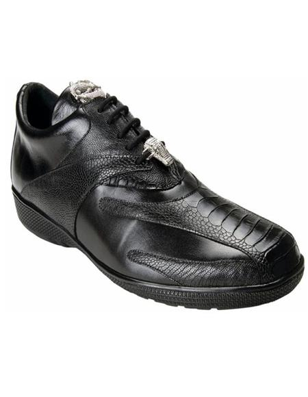 Mens Sneaker Bene Black Geniune Ostrich and Soft Calfskin