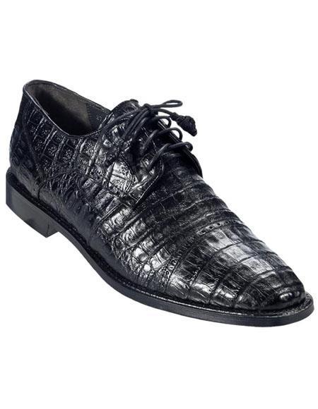 Mens Los Altos Boots Black Genuine Caiman Oxford