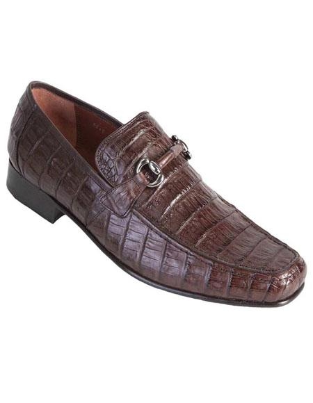 Mens Brown Genuine Caiman Crocodile Belly Slip On By Los Altos Boots