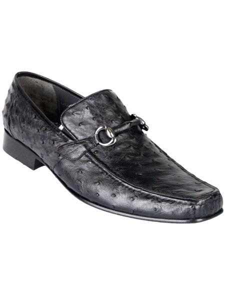 Mens Black Genuine Ostrich Slip On By Los Altos Boots