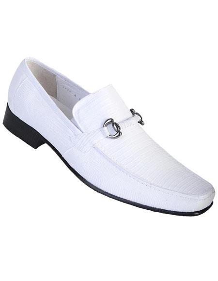 Mens White Genuine Teju Lizard Skin Slip-on By Los Altos Boots