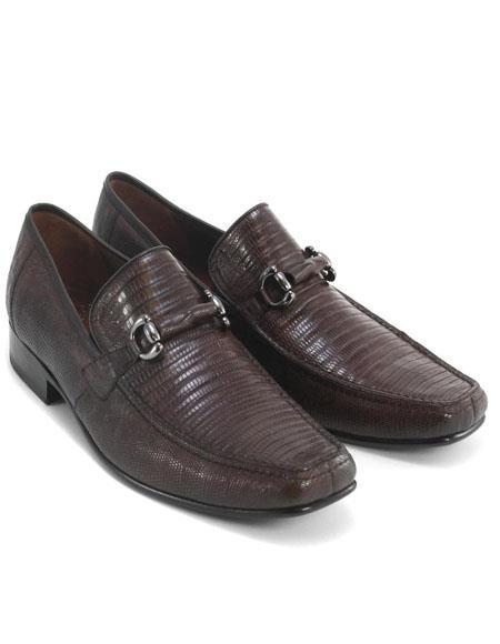 Mens Brown Genuine Teju Lizard Skin Slip-on By Los Altos Boots