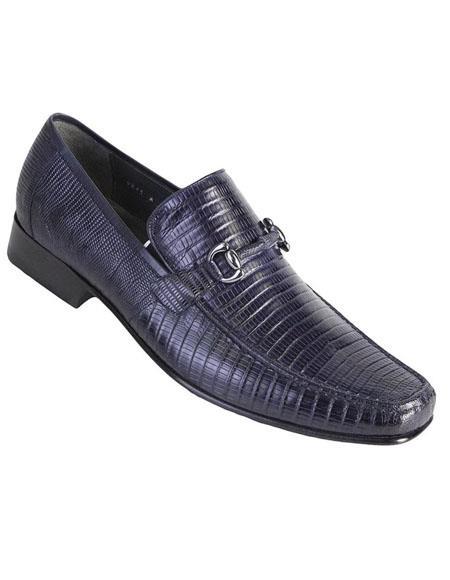 Mens Navy Genuine Teju Lizard Skin Slip-on By Los Altos Boots