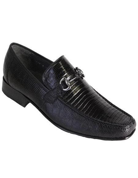 Mens Black Genuine Teju Lizard Skin Slip-on By Los Altos Boots