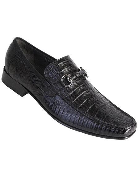 Mens Black Genuine Caiman Belly and Lizard Slip On By Los Altos Boots