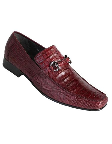 Mens Burgundy Genuine Caiman Belly and Lizard Slip On By Los Altos Boots
