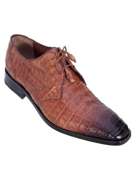 Mens Los Altos Boots Cognac Genuine Caiman Belly Exotic Lace-ups
