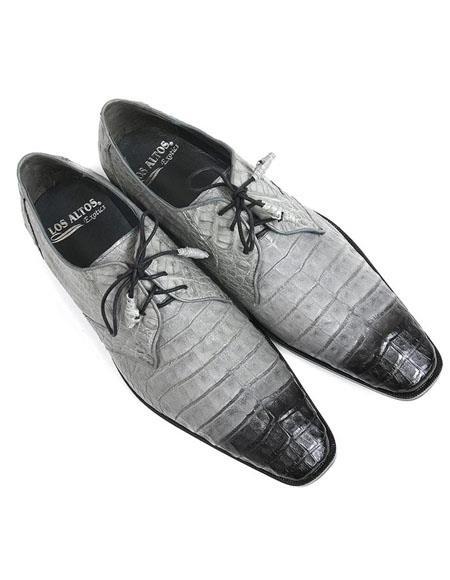 Mens Los Altos Boots Gray 2 Tone Genuine Caiman Belly Lace Up