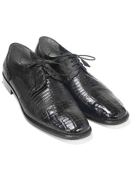 Mens Los Altos Boots Black Genuine Lizard and Caiman Oxford