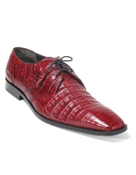 Mens Los Altos Boots Burgundy Genuine Caiman Belly Lace Up