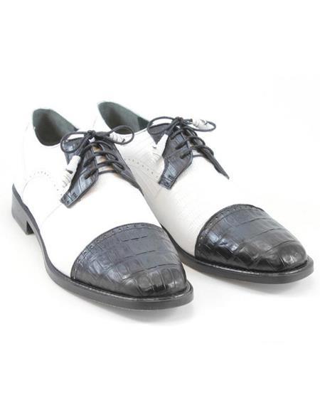 Mens Los Altos Boots Black/White Genuine Teju Lizard and Caiman