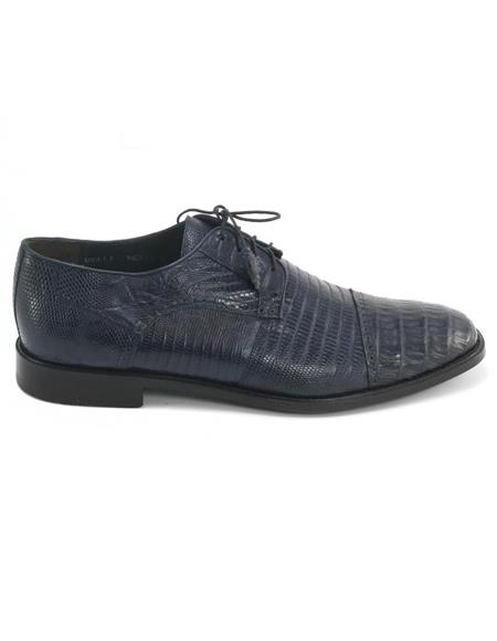 Mens Los Altos Boots Navy Genuine Teju Lizard and Caiman Oxford