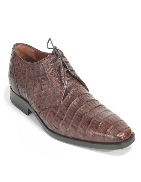 Mens Los Altos Boots Brown Genuine Caiman Belly Lace Up