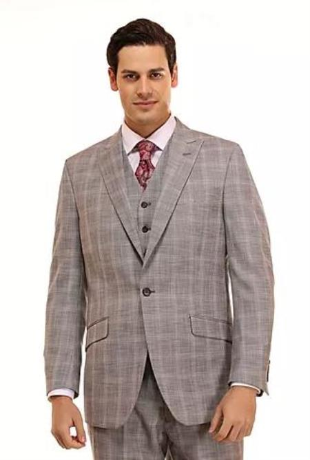 Mens Grey Checkered Patterned Window Pane Suit