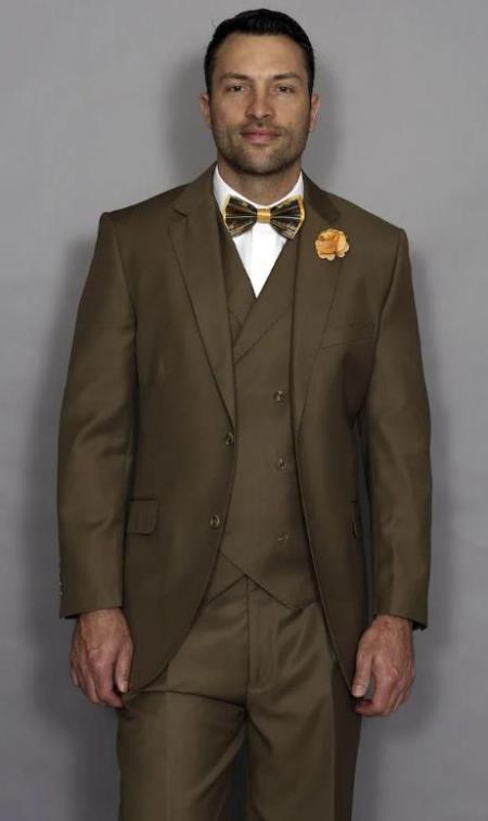 Classic Fit Suit Mens Suit Statement Brand Athletic Fit Classic Fit Pleated Pants 100% Super 150s' Wool + Double Breasted Vest Color Bronze