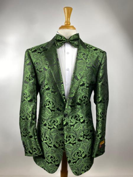 Olive Green Paisley Tuxedo Dinner Jacket With Bow Tie - Green Blazer