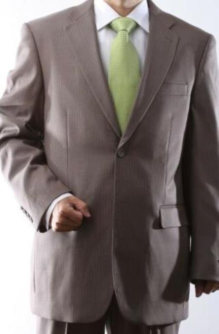 Mens 2 Button Single Breasted Tan Pinstripe Suit