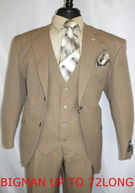 Big And Tall Mens Plus Size Mens Suits For Big Guys Beige