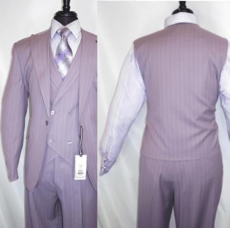 Three Piece Suit For Men Lavender Pinstripe Suit - Lilac Stripe - Sumner Suit By Stacy Adams Suits