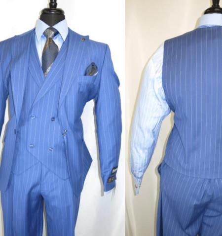 Mens Sky Blue Stripe Peak Lapel Sumner Suit