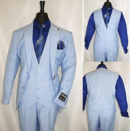 Three Piece Suit For Men Light Blue Pinstripe Suit - Sky Blue Stripe - Sumner Suit By Stacy Adams Suits