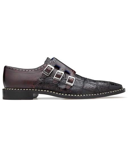 Belvedere Hurricane Cherry Mens double monk strap shoes