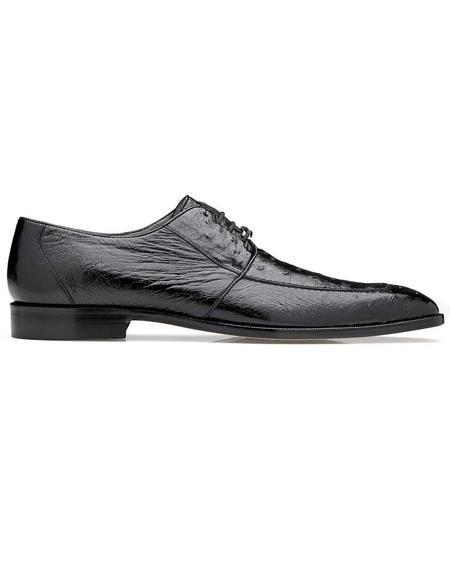 Mens Belvedere Black Genuine Ostrich Mens Lace Shoes
