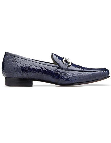 Mens Belvedere Navy Genuine Alligator Shoes