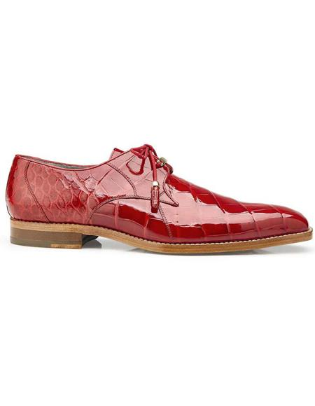 Mens Belvedere Red Genuine Alligator Tassel Laces Shoes