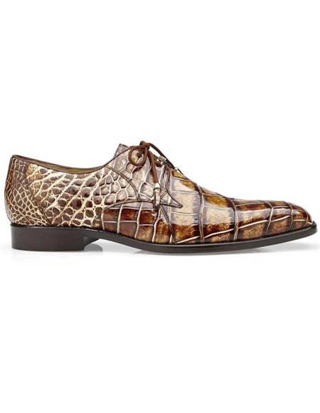 Mens Belvedere Caramel Genuine Alligator Shoes