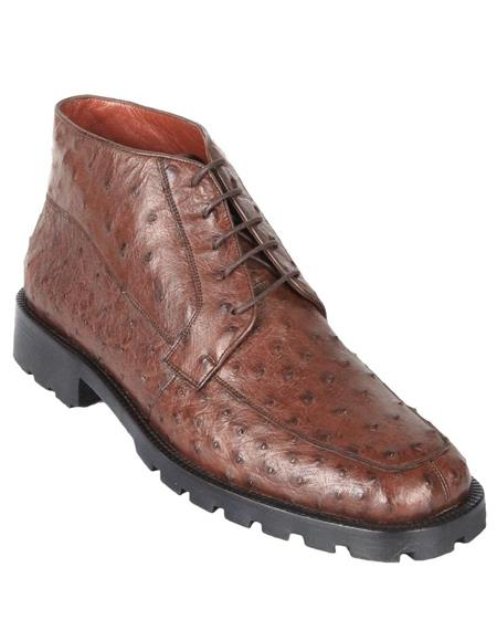 Mens Dress Ankle Boots Los Altos Boots Short Cowboy Boot - Western Ankle Boots Exotic Skin + Brown + Skin Type