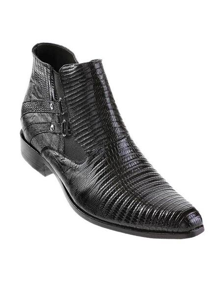 Mens Dress Ankle Boots Los Altos Boots Short Cowboy Boot - Western Ankle Boots Exotic Skin + Black + Skin Type
