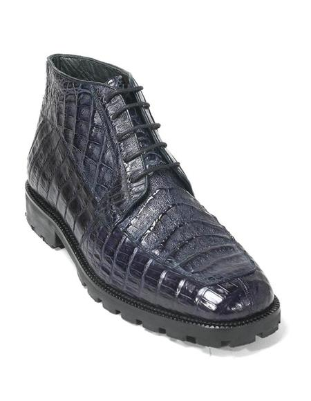 Mens Dress Ankle Boots Los Altos Boots Short Cowboy Boot - Western Ankle Boots Exotic Skin + Navy + Skin Type