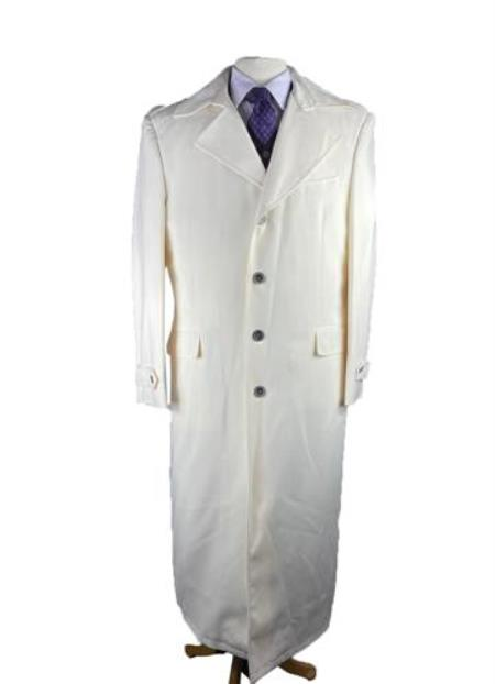 Mens White Duster Full Length Trench Coat For Men - White Coat