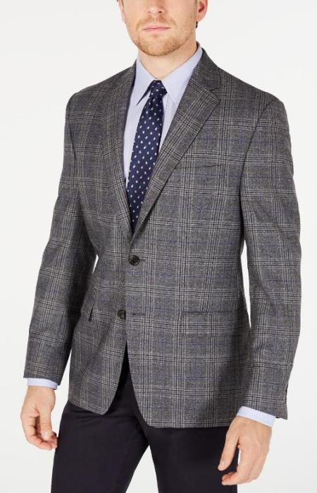 Mens Plaid Windowpane Checker Slim Fit Blazer Grey