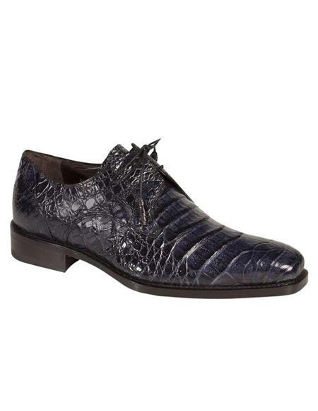 Mens Authentic Navy Blue Crocodile Skin Shoes