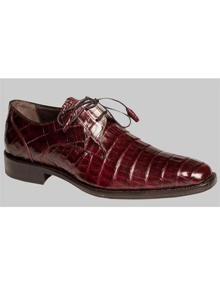 Mens Rich Burgundy Crocodile Skin Shoes