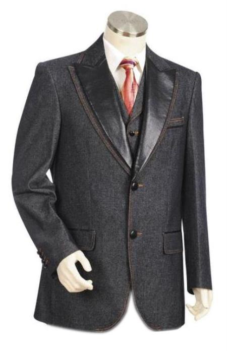 Mens Black Single Breasted Peak Lapel Denim blazer