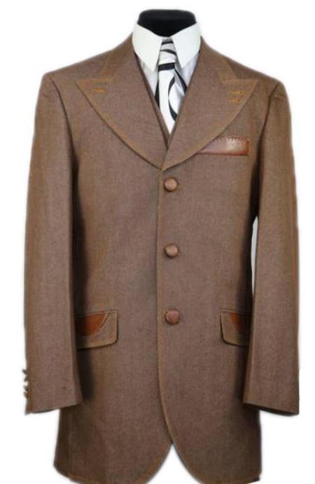 Mens Brown 2 Button Patch Pocket Denim Sport Coat