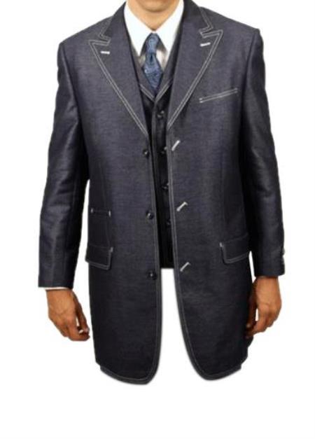 Mens Navy Denim luxurious fashion 3 piece suit