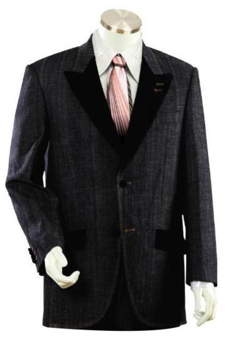 Mens 2 buttoned Denim Black Denim Suit