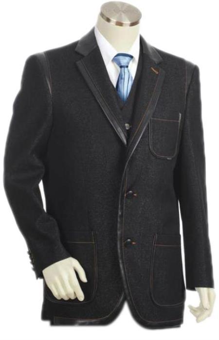 Mens 3 Button 3PC Fashion Denim Cotton Two Tone Blazer