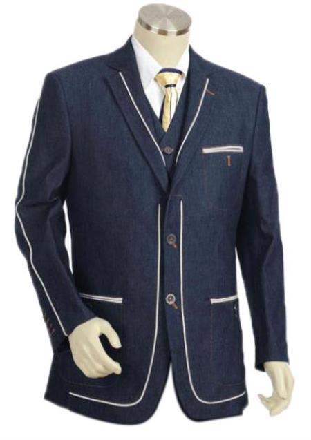 Mens Denim Cotton Fabric Trimmed Two Tone Blazer