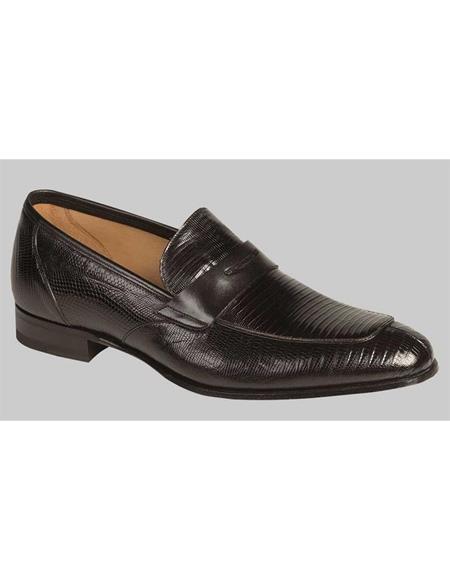 Mens Black Lizard Skin Shoes