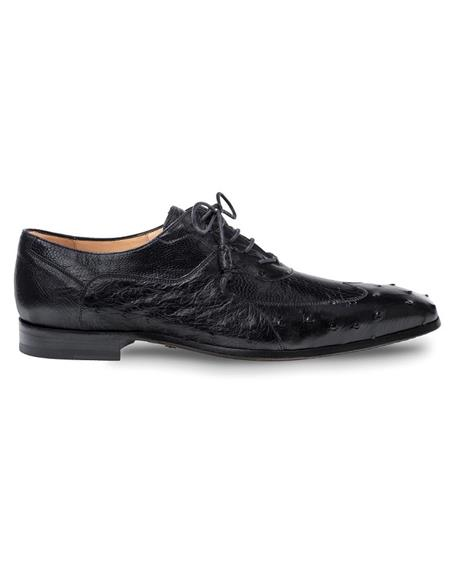 Mens Black Ostrich Quill and Ostrich Leg Shoes