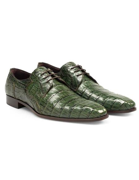 Mens Green Dress Shoes Mens Authentic Olive Green Crocodile Skin Shoes