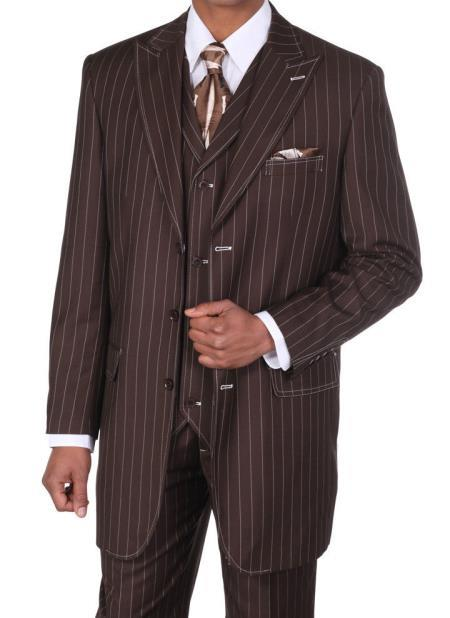 Mens Classic Bold Chalk Gangster Stripe 3 Button Pinstripe Suit Brown